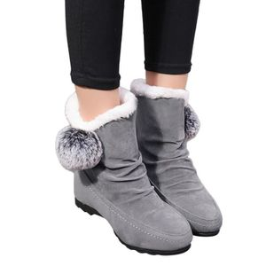 SLIP-ON Femmes Suede Hairball Round Compensées Toe Shoes K