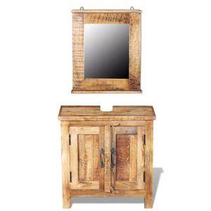 Meuble salle de bain bois massif - Achat / Vente pas cher