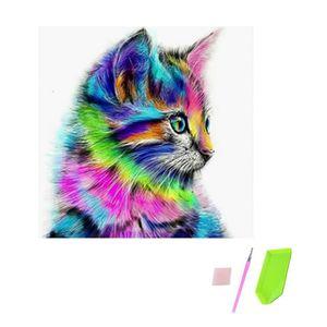 TABLEAU - TOILE Peinture de Diamant, 5D DIY Cute Cat Motif Strass