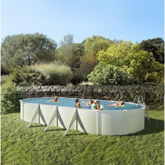 TRIGANO Piscine ovale 7,55x3,90x1,20m - Blanc