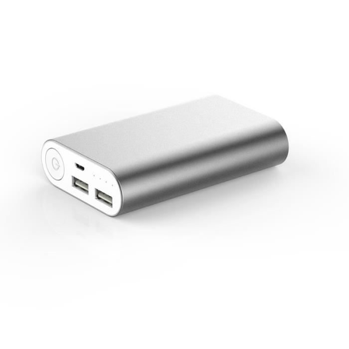 WE Batterie externe 10000mAh2 USB : 1 + 2.1A - Argent