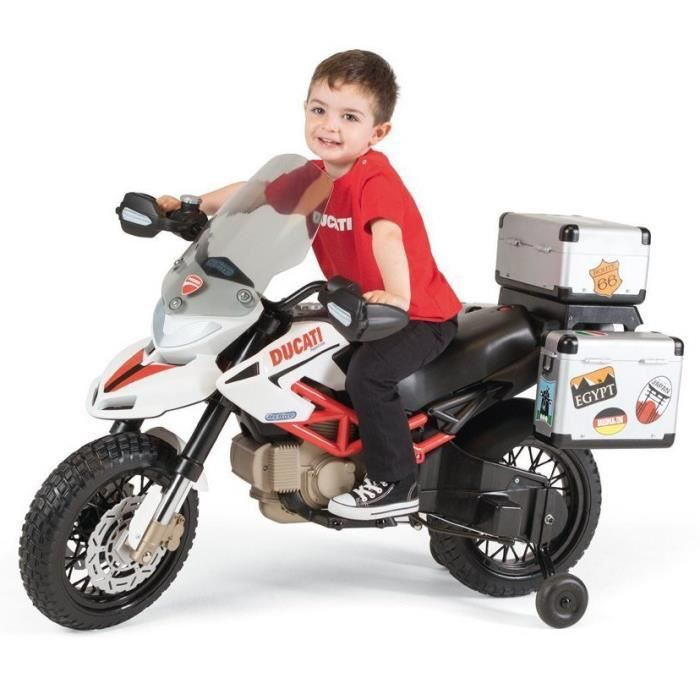 DUCATI Moto electrique enfant Hypermotard Cross 12 volts avec roulette amovibles et top case