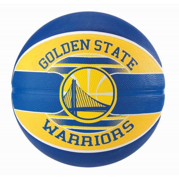 SPALDING Ballon de basket-ball NBA Team Golden State - Bleu et jaune - Taille 7