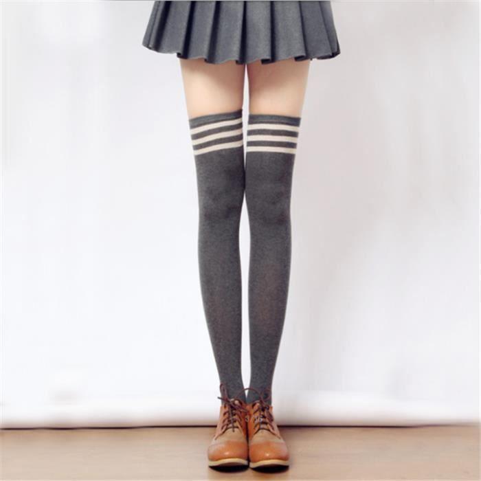 8acb4b46d15 3 paires Collant Femme Fille Kawai en coton Chaussettes Hautes en Maille  Sublim 3 couleurs