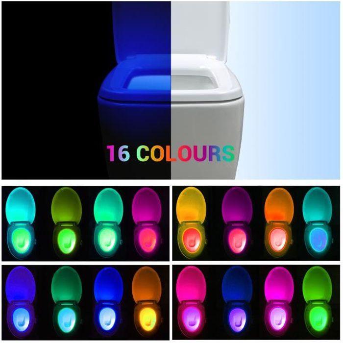Lumière Éclairage Toilettes Led Wc Multicolore De Toilette Pour Des 16 Couleur Lampe Lumineux Cuvette CBedxo