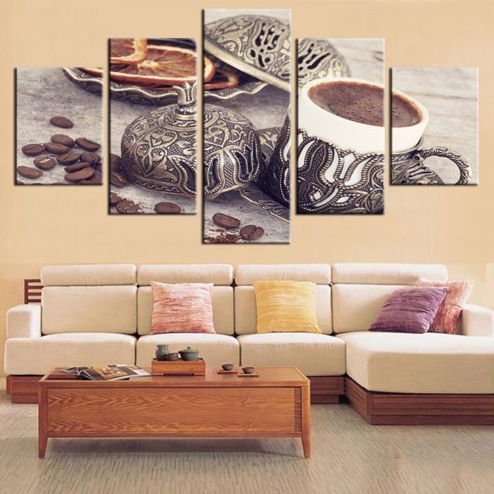 Toile Estampes Peintures Salle De Séjour Decor 5 Pieces Coffee Bean
