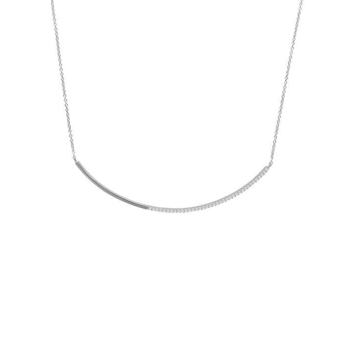 Jouailla - Collier microserti Arrondi argent 925/1000e rhodiéet oxydes de zirconium