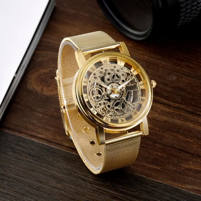 f36e5a33172a SOXY Marque Mode Squelette Montre Homme Montre de luxe entreprise Montres  Quartz Horloge Heure or
