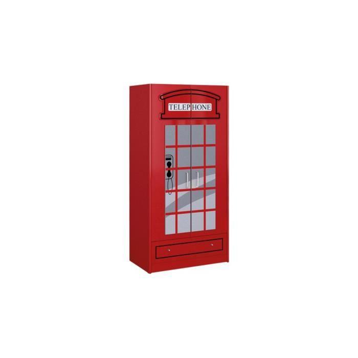 Armoire enfant cabine téléphonique rouge 2 portes 1 tiroir - Achat ...