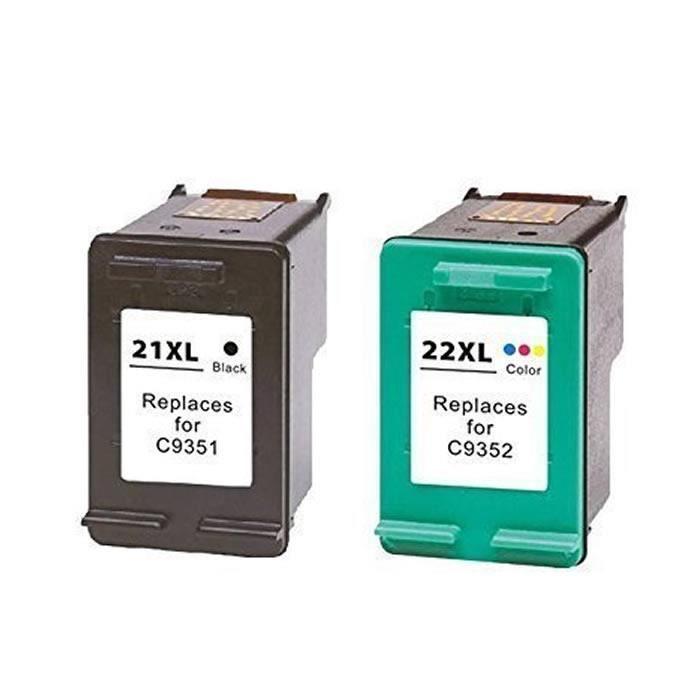 53aa1e2e950afe 2 Pack 21XL 22XL 1100 Pages Cartouches d Encre Reconditionnées Compatible  pour HP DeskJet 3940 3930 PSC 1417 1410 Officejet 4310