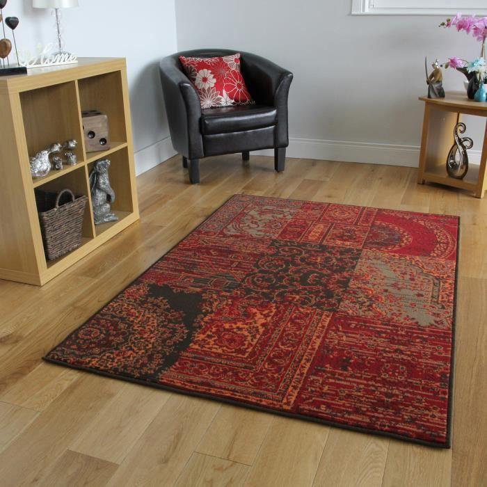 Tapis Traditionnel Rouge, Marron & Gris 120 cm x 170 cm (4\' x 5\'6 ...