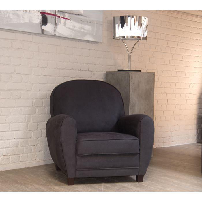 Fauteuil imitation vieux cuir gris Club Achat Vente fauteuil