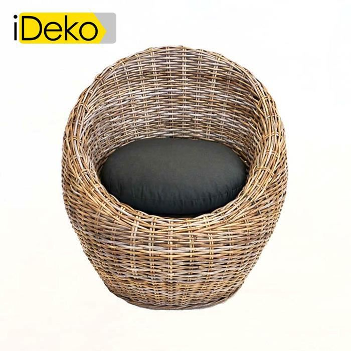 IDeko®Fauteuil œuf en rotin teinté avec coussin d\'assise Anthracite ...