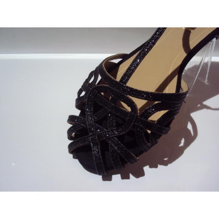 sandales / nu-pied noires pailleté