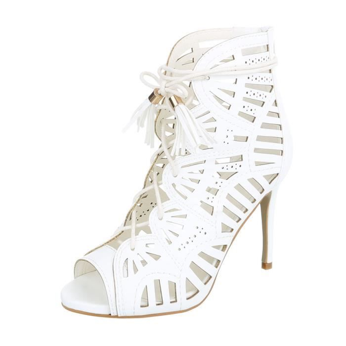 4f2251703b686 Chaussures femme sandale à talons hauts High Heels escarpin blanc 41 ...