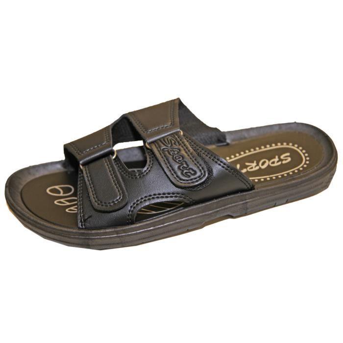 Sandale Sandalette Tong Mule Claquette Homme Similicuir Fermeture Par Scratch !