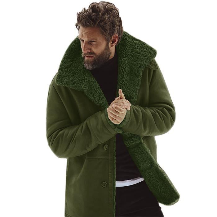 PARKA Hiver Veste en peau de mouton hommes laine chaude fd981652972