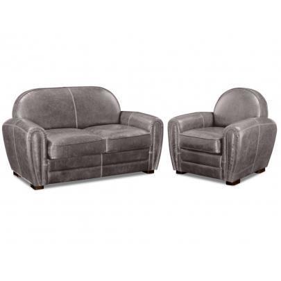 Canapé et fauteuil club BAUDOIN en cuir vieilli… Achat Vente