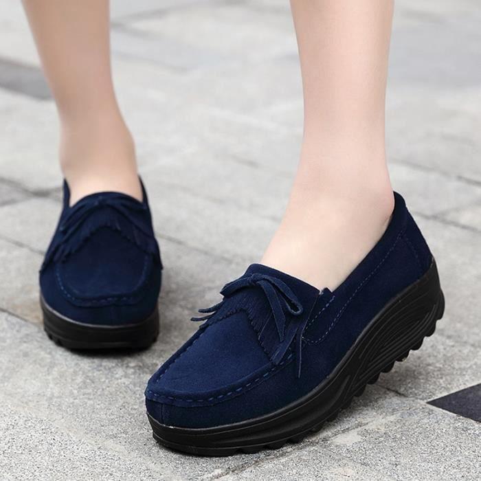 chaussures multisport Femme Automne - hiver femme casual Plate-forme en cuir talon haut bleu taille38