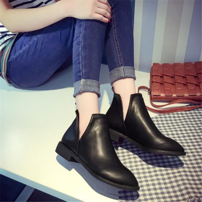 bottines - low boots Cuir nouvelles Talons hauts bottes de mode femme jyx704noir