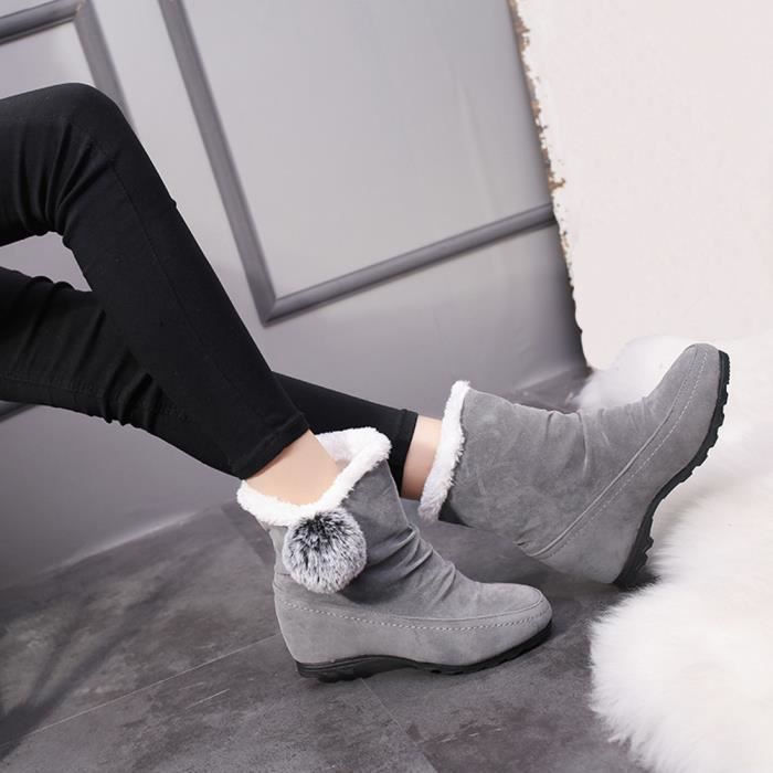 De on Bottes Toe Slip yini1948 Round Chaud Femmes Neige Shoes Keep Compensées Suede Hairball wqxAZpvR