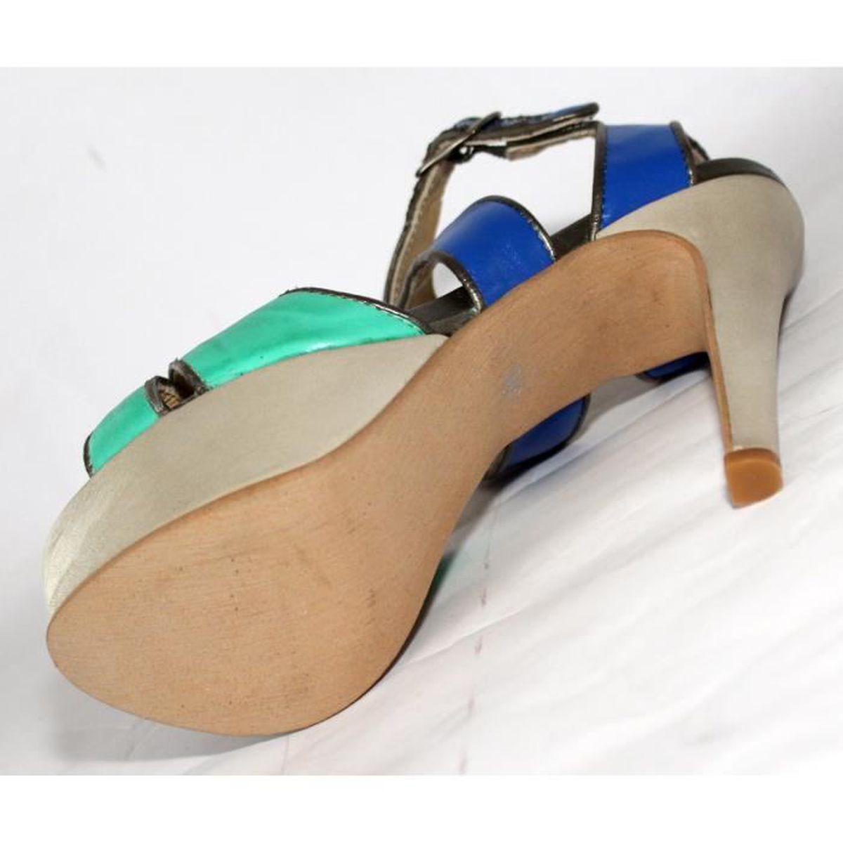 Baby girl géométrique sandale Stretch pieds nus gladiateurs HYM70626329BU PZlVxCaR9