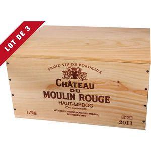 COFFRET CADEAU VIN 3X La Caisse Bois 6x75cl estampillé Château du Mou