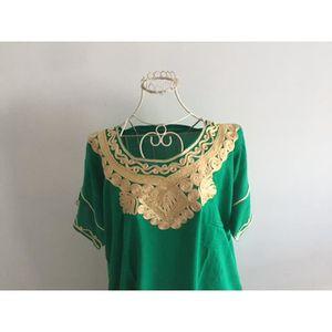 TUNIQUE Djellaba maroc verte brodée or pour femme tunique