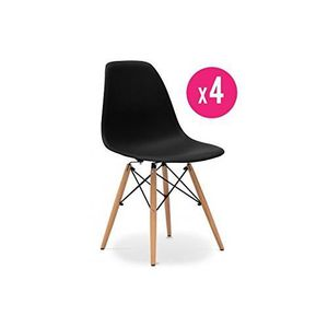 Chaise scandinave noire achat vente chaise scandinave for Galette chaise dsw