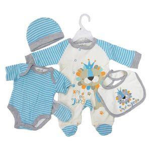 ensemble cadeau de naissance b b gar on pyjama body bonnet bavoir moufles bleu achat vente. Black Bedroom Furniture Sets. Home Design Ideas