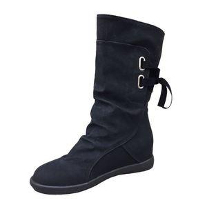 Napoulen®Dames bas Wedge solide Zipette cheville Trim plat bottes pour femme Noir-XYY70923513BK HgacprER