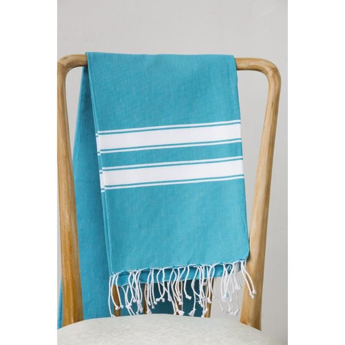 Fouta 100% coton Rayure A 100x200 cm turquoise