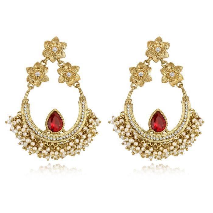 Plaqué or ethnique Femmes annonce Pierre Avec Cluster Perle Chand Bali Boucles doreilles Aier 946 VK9ZG