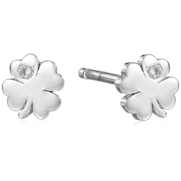 Clover Stud Earrings With Burnished Diamond TSB8F