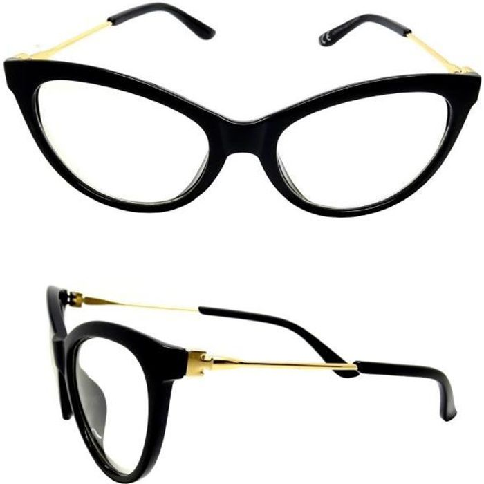 LUNETTES VUE FEMME NOIR CATHY ŒIL CHAT PAPILLON BRANCHES OR FINE SANS  CORRECTION - Achat   Vente lunettes de vue LUNETTES VUE FEMME NOIR CAT -  Soldes  dès ... a891657fe632