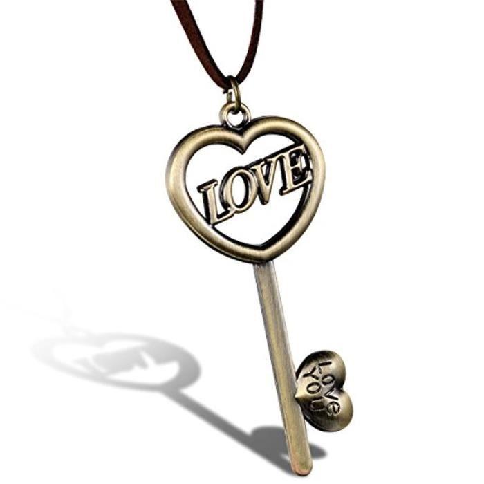 Bijoux Pendentif Femme Love You Clé Creux Saint Valentin Corde Velours Cuir Alliage Fantaisie Couleur Bronze Longueur 80Cm 756