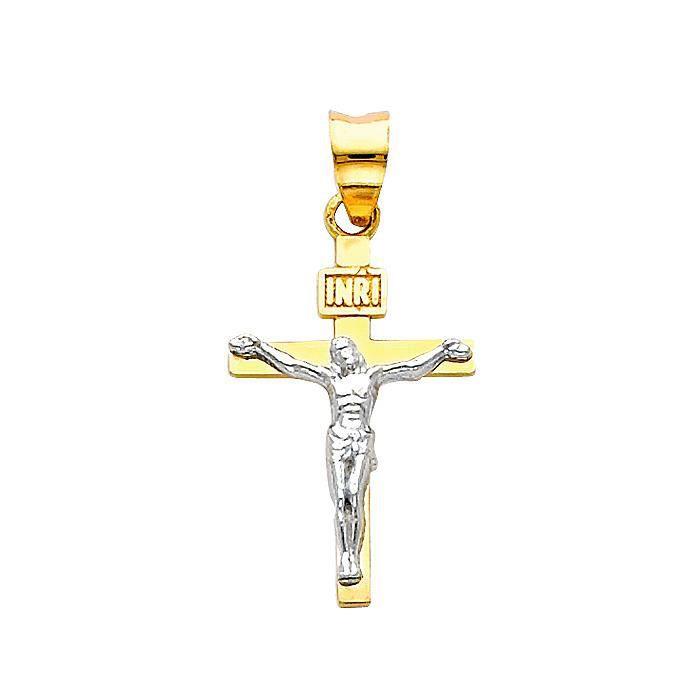 Collier Pendentif14 ct 585/1000 Deux tons or Crucifix suspension classique (vient avec une Chaîne de 45 cm)