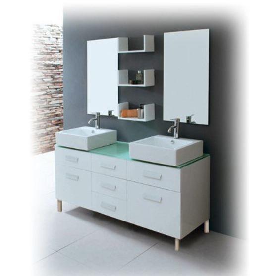 meuble salle de bain double vasque avec pied