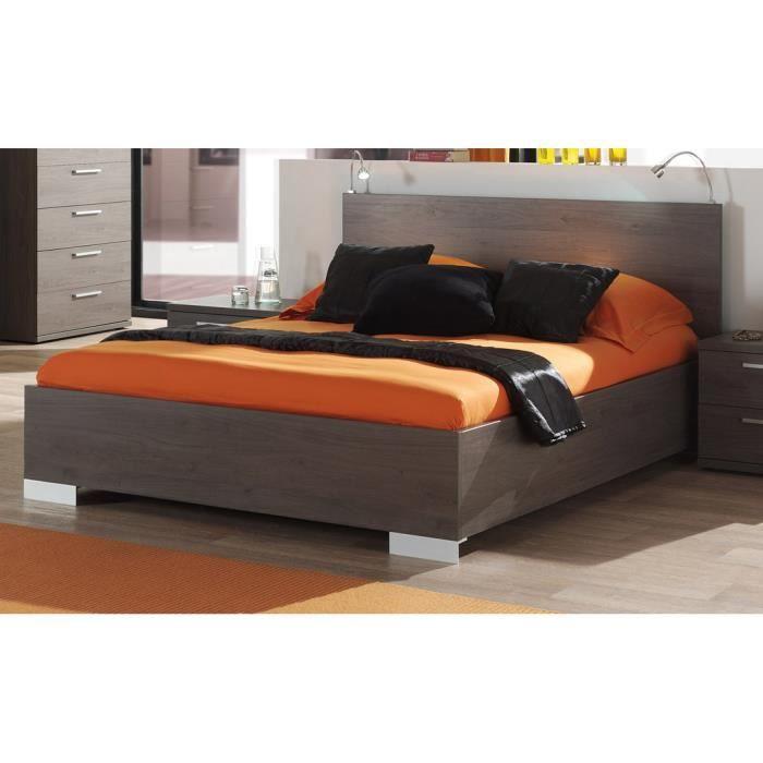 STRUCTURE DE LIT Lit 180x200 cm avec tête de lit intégrée coloris c