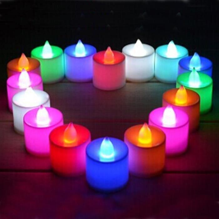 lot de 24 bougies led color sans flamme achat vente. Black Bedroom Furniture Sets. Home Design Ideas