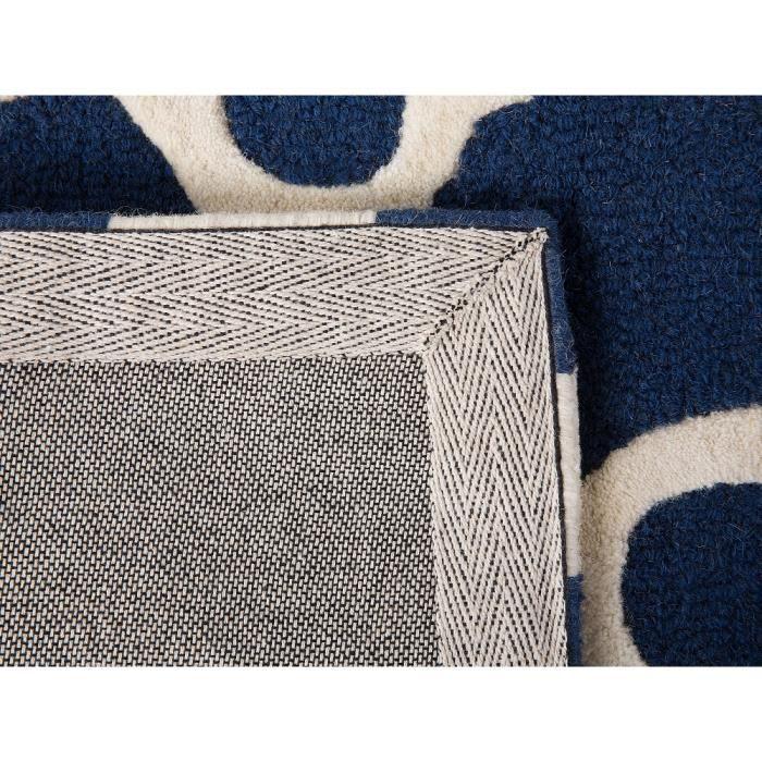 tapis de salon bleu 140x200 cm tapis coton laine zile - Tapis Coton