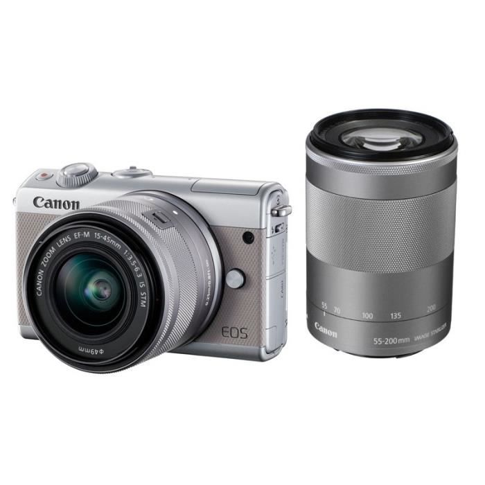 48172d6f5cc6cc APPAREIL PHOTO HYBRIDE CANON EOS M100 GRIS + Objectif EF-M 15-45mm f