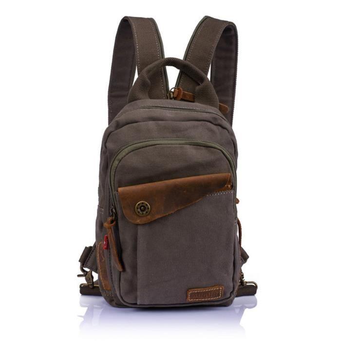 f2f1bf2408 Sac à bandoulière Vintage, coofit toile petit sac à dos sport sac de  poitrine pour hommes garçons (vert armée)