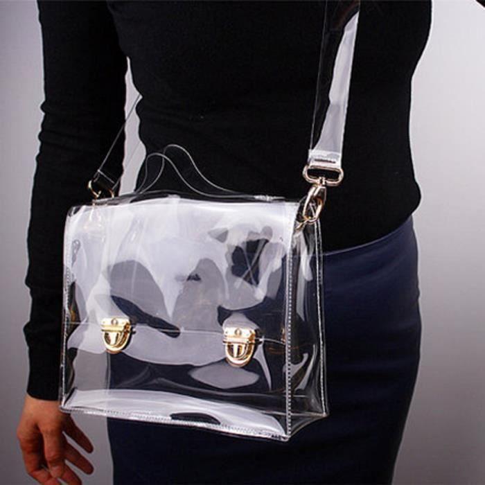 Transparent Sac à bandoulière Sac à main PVC fourre-tout Effacer Croix-Sac  Fashion bdd498bc9a5