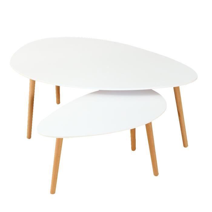 Ensemble De Deux Tables Basses Style Scandinave Blanc