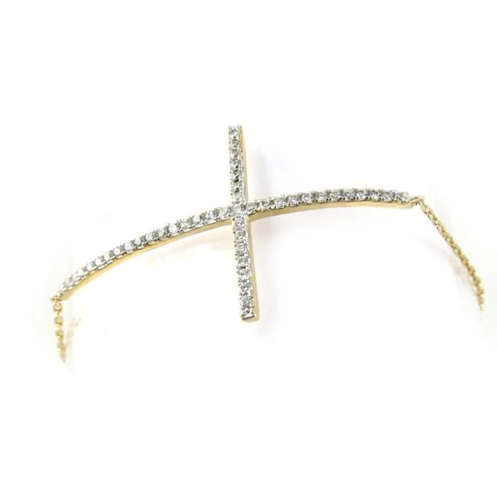 Les Trésors De Lily [N0002] - Bracelet Plaqué Or Croix