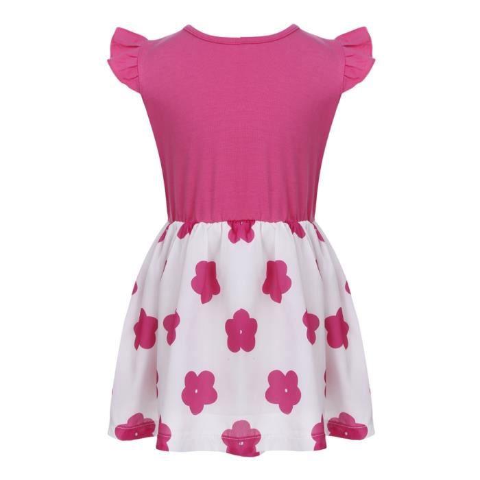 Mini robe plissée o-cou floral nœud papillon dé...