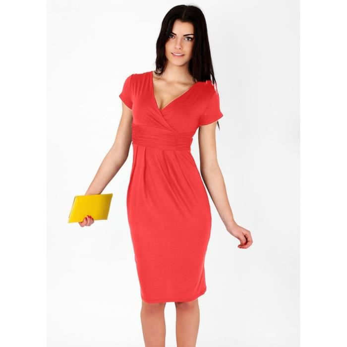 robe longueur genou sexy manches courtes col v ...