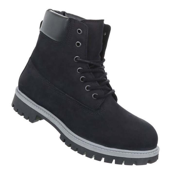 Chaussures Hommes Bottes cuir laçage noir 45
