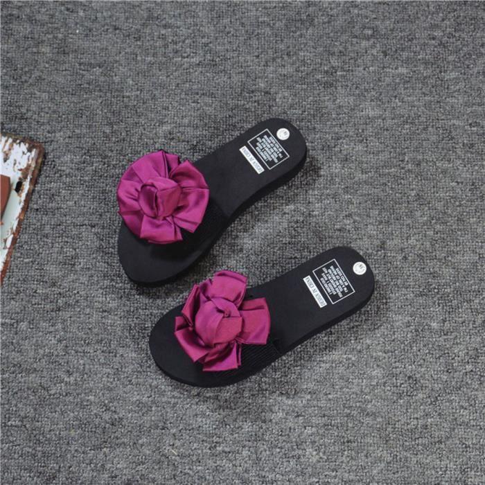 info pour d2d57 af42d Femmes Fleurs d'été Sandales Chausson intérieur Tongs extérieur Chaussures  de plagerouge Benjanies